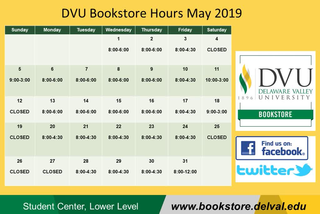 Information regarding Calendar is as follows Start date is May 01 2019 and End Date is May 31 2019 and Group Name is Bookstore and File is Browse and Name of Ad/Event is Calendar and Affiliation is Department and File Name is 1556812205_comp.jpg and Screen Location is Main and Email is richard.horner@delval.edu and Name is Rick Horner and