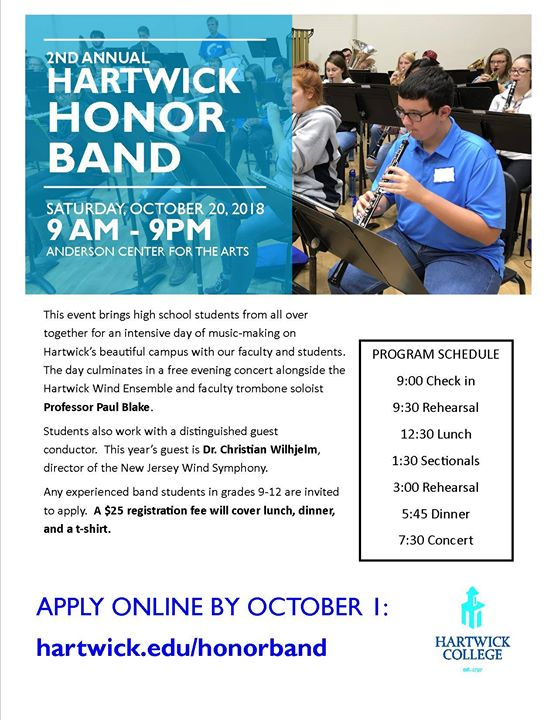 Information regarding Hartwick Honor Band is as follows Start date is September 07 2018 and End Date is October 20 2018 and Email is bking@apogee.us and Name is Brandon King and File is Browse and Name of Ad/Event is Hartwick Honor Band and File Name is 41006949_1658372470955466_4757157119088656384_o_comp.jpg and Affiliation is Other and Panel is Side and