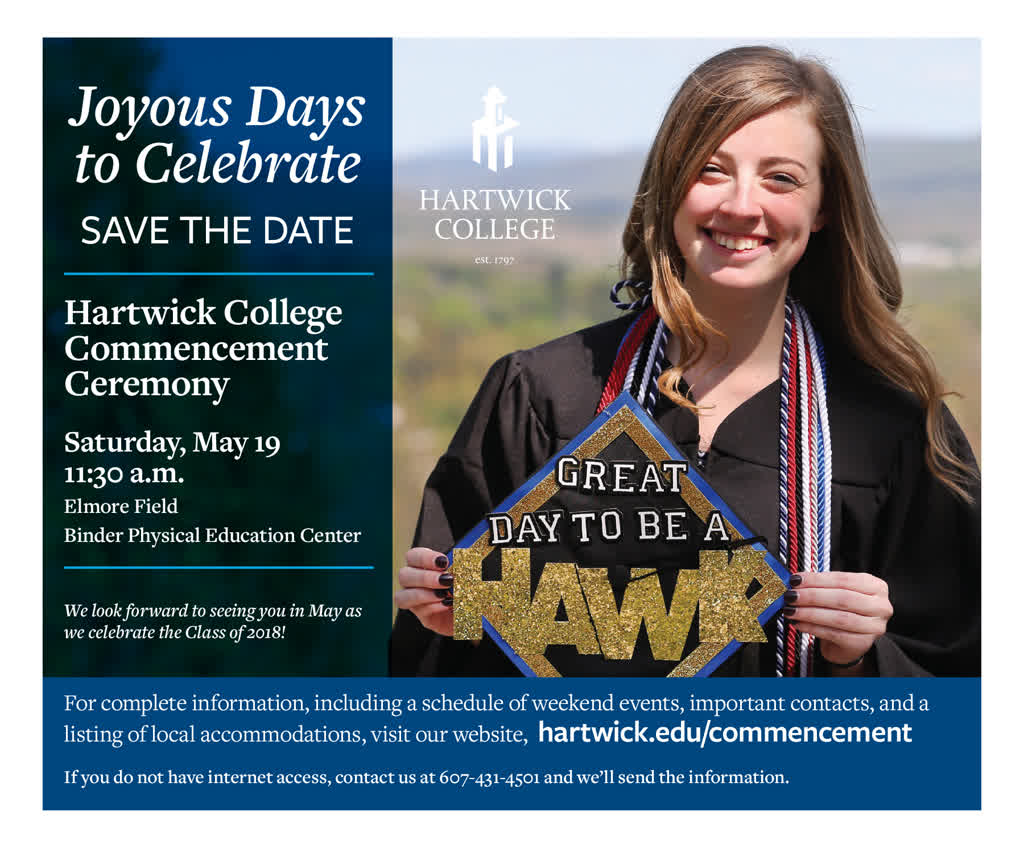 Information regarding Save the Date is as follows Start date is February 20 2018 and End Date is May 18 2018 and File is Browse and Group Name is Commencement and Email is habernigp@hartwick.edu and Affiliation is Staff and File Name is HAR-Commencement-Post-email-3_comp.jpg and Panel is Main and Name is Paul Habernig and Name of Ad/Event is Save the Date and