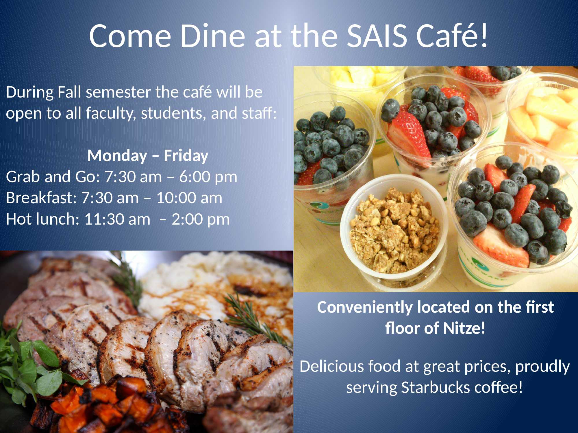 Information regarding SAIS Cafe Fall is as follows Start date is September 01 2016 and End Date is December 31 2016 and File is Browse and Affiliation is Department and File Name is Cafe-Ad-fall_comp.jpg and Panel is Main and Name of Ad/Event is SAIS Cafe Fall and Group Name is SAIS Operations and Name is Victoria Kinzel and Email is vkinzel1@jhu.edu and