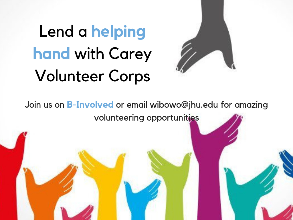 Information regarding Carey Volunteer Corps is as follows Create Your Own Tags: is #Volunteer #CareyVolunteerCorps and Start date is October 21 2018 and End Date is December 22 2018 and Name is Alexandra Wibowo and File is Browse and Name of Ad/Event is Carey Volunteer Corps and Affiliation is Department and File Name is Carey-Volunteer-Corps-1_comp.jpg and Panel is Main and Are you a student or a department? is Student and Group Name is Student Ventures and Email is wibowo@jhu.edu and