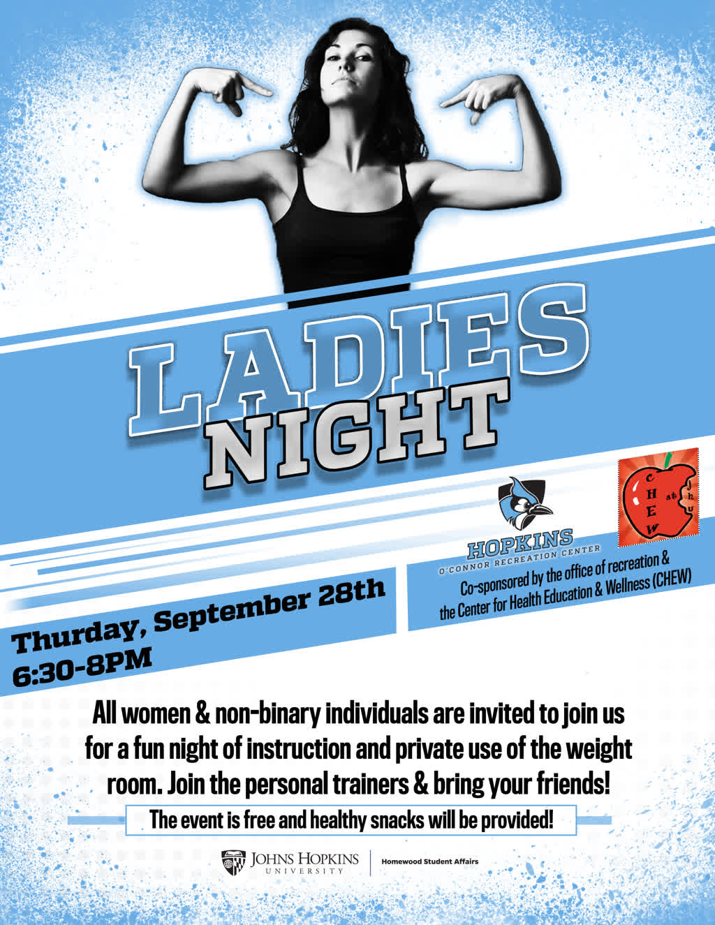 Information regarding Ladies Night is as follows Create Your Own Tags: is #Fitness and Start date is September 12 2017 and End Date is September 24 2017 and File is Browse and Affiliation is Department and File Name is Ladies-Night_ORCA_comp.jpg and Name is Ladies Night and Group Name is Recreation and Panel is Side and Email is vina.mktg@jhu.edu and