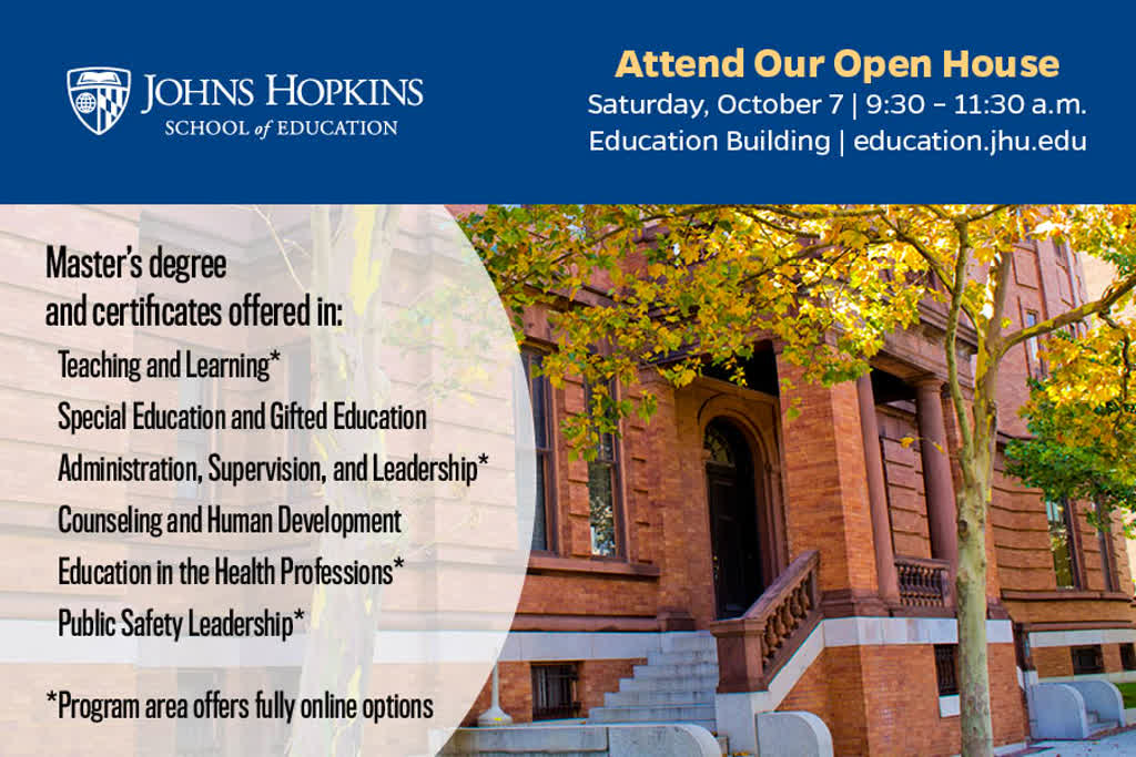 Information regarding School of Education Open House is as follows Start date is September 13 2017 and End Date is October 07 2017 and File is Browse and Affiliation is Department and File Name is ORCATV_Ad_20172_comp.jpg and Name is John Robertson and Panel is Main and Email is robertson@jhu.edu and Group Name is School of Education and Name of Ad/Event is School of Education Open House and