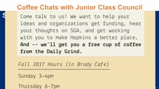 Information regarding Coffee Chats with Council is as follows Start date is October 09 2017 and End Date is November 30 2017 and File is Browse and Name of Ad/Event is Coffee Chats with Council and File Name is Orca-Coffee-Chats_comp.jpg and Group Name is Junior Class Council (SGA) and Panel is Main and Email is ndamian1@jhu.edu and Name is Nina D'Amiano and Affiliation is Recognized Student Organization and