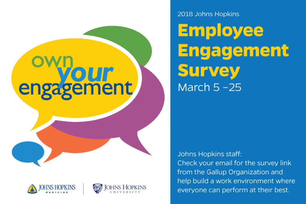 Information regarding Employee Engagement Survey is as follows Start date is March 05 2018 and End Date is March 24 2018 and File is Browse and Affiliation is Department and Name of Ad/Event is Employee Engagement Survey and File Name is Survey-TV-Screen_comp.jpg and Group Name is JHU Office of Communications and Panel is Main and Email is salexa34@jhu.edu and Name is Sandy Alexander and