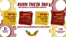 Information regarding Rush Theta Tau! is as follows Create Your Own Tags: is #engineering and Start date is September 12 2017 and End Date is September 21 2017 and File is Browse and File Name is fall17rushcoverphoto_comp.jpg and Name is Laolu Ogunnaike and Email is logunna1@jhu.edu and Panel is Main and Affiliation is Recognized Student Organization and Name of Ad/Event is Rush Theta Tau! and Group Name is Theta Delta Chapter, Theta Tau and