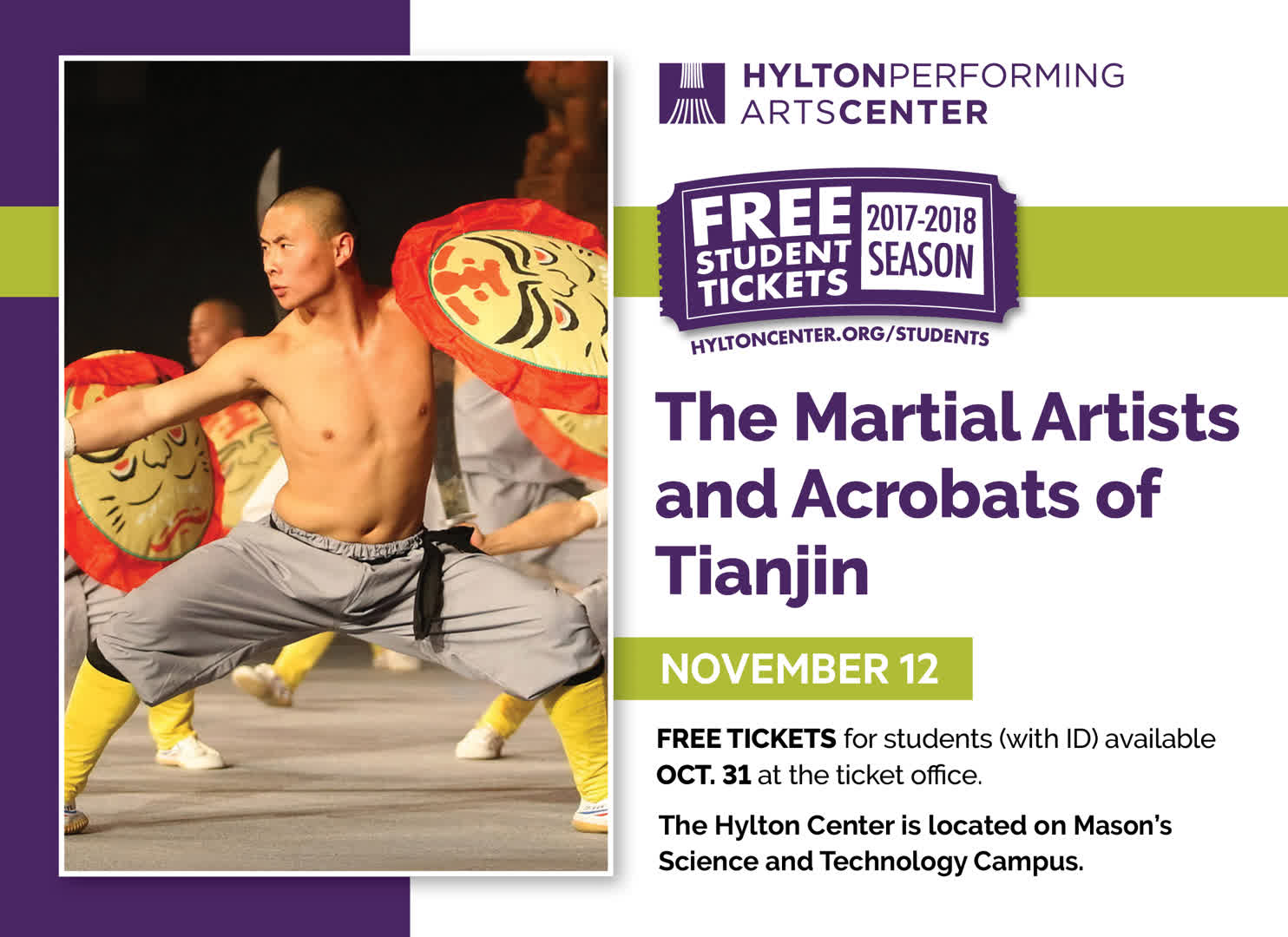 Information regarding Martial Artists and Acrobats of Tianjin is as follows Start date (when you would like your content to be posted) is October 24 2017 and End Date  (when you would like your content to be removed from the screens) is November 03 2017 and File is Browse and Name is Bruce Scott and Email is bscott15@gmu.edu and Group Name is CVPA and File Name is 03_Acrobats_11-12-17_comp.jpg and Panel for your ad to be displayed is Main and Name of Ad/Event is Martial Artists and Acrobats of Tianjin and Affiliation is Mason Department and