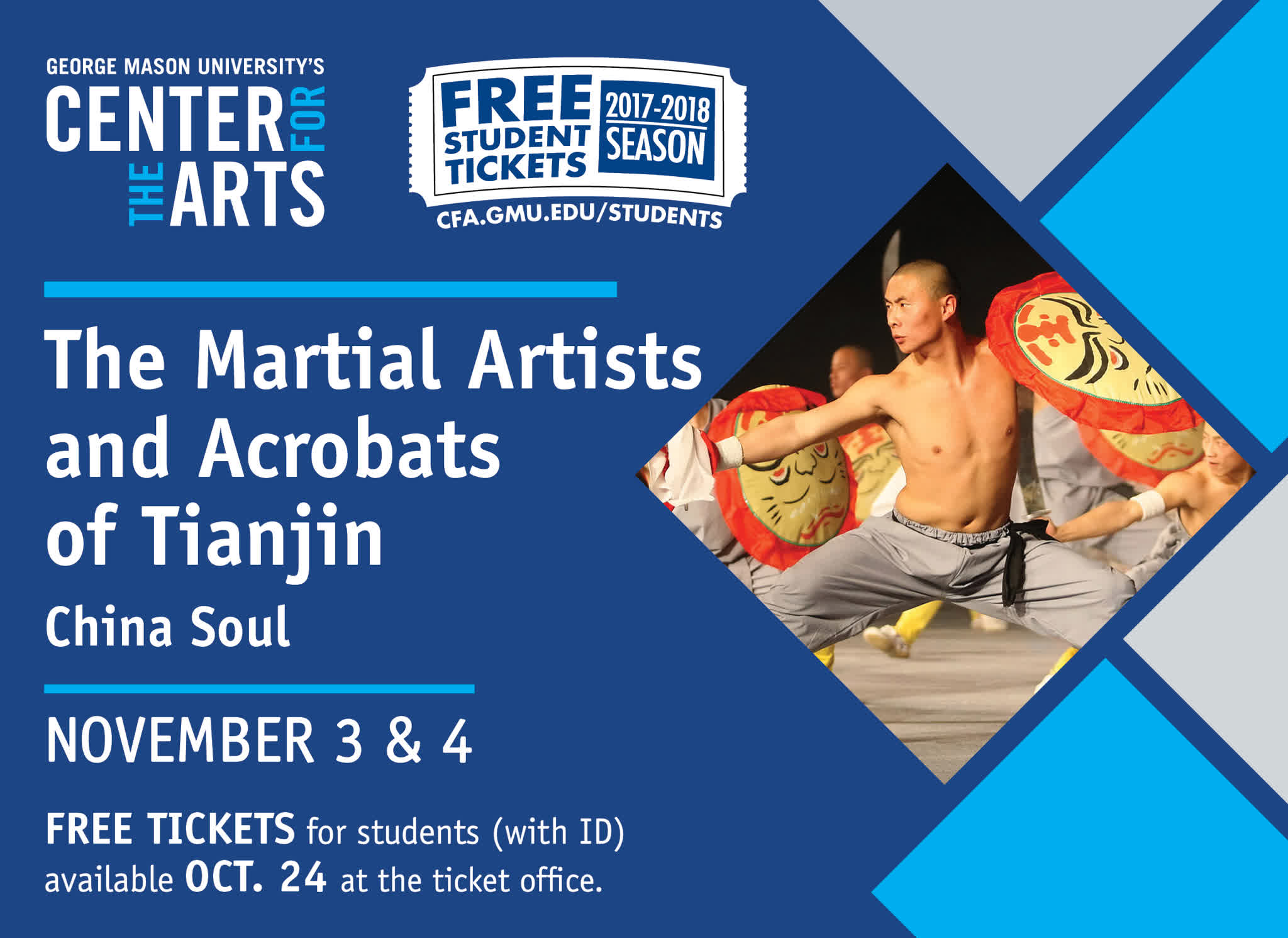 Information regarding Martial Artists and Acrobats of Tianjin is as follows Start date (when you would like your content to be posted) is October 17 2017 and End Date  (when you would like your content to be removed from the screens) is October 27 2017 and File is Browse and Name is Bruce Scott and Email is bscott15@gmu.edu and Group Name is CVPA and File Name is 03_MartialArtists_1103-1104_comp.jpg and Panel for your ad to be displayed is Main and Name of Ad/Event is Martial Artists and Acrobats of Tianjin and Affiliation is Mason Department and