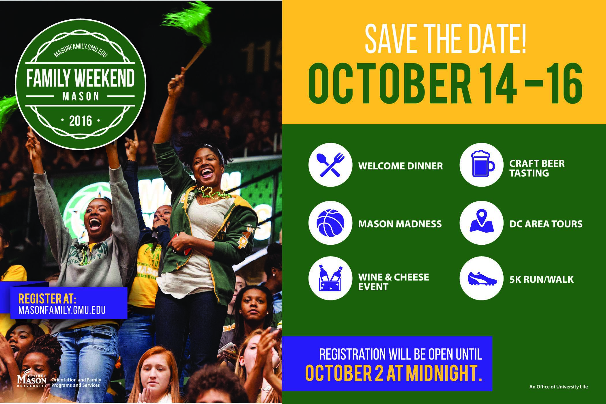 Information regarding Family Weekend 2016 is as follows Create Your Own Tags: is #FW2016 #MasonFamily and Start date (when you would like your content to be posted) is July 25 2016 and End Date  (when you would like your content to be removed from the screens) is October 16 2016 and File is Browse and Name of Ad/Event is Family Weekend 2016 and File Name is FWplasmascreen-2016_comp.jpg and Email is lconner@gmu.edu and Name is Lindsey Conner and Panel for your ad to be displayed is Main and Affiliation is Mason Department and Group Name is Mason Family Programs and Services and
