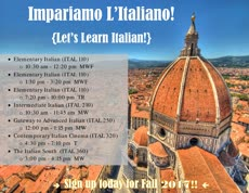 Information regarding Fall Italian is as follows Start date (when you would like your content to be posted) is April 14 2017 and End Date  (when you would like your content to be removed from the screens) is August 25 2017 and File is Browse and Name of Ad/Event is Fall Italian and File Name is Italian-Fall-2017-page-001_comp.jpg and Panel for your ad to be displayed is Main and Affiliation is Mason Department and Group Name is Modern & Classical Languages and Name is Paul Ickert and Email is pickert@gmu.edu and