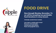 Information regarding AFCU Food Drive is as follows Create Your Own Tags: is #shopMason #donate and Start date (when you would like your content to be posted) is October 23 2017 and End Date  (when you would like your content to be removed from the screens) is November 12 2017 and Name of Ad/Event is AFCU Food Drive and File is Browse and File Name is afcu_food_drive-01_comp.jpg and Panel for your ad to be displayed is Main and Affiliation is Mason Department and Name is Nhi Nguyen and Email is nnguye@gmu.edu and Group Name is shopMason and