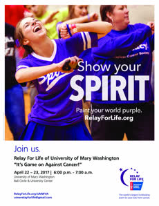 Information regarding Relay_Spirit is as follows Create Your Own Tag: is #UMWRelayforLife and Start date is April 10 2017 and End Date is April 23 2017 and Email is aleonar2@mail.umw.edu and Name is Amanda Leonard and File is Browse and File Name is Event-Flyer-2_comp.jpg and Affiliation is Recognized Student Organization and Group Name is Relay for Life and Name of Ad/Event is Relay_Spirit and Panel is Side and