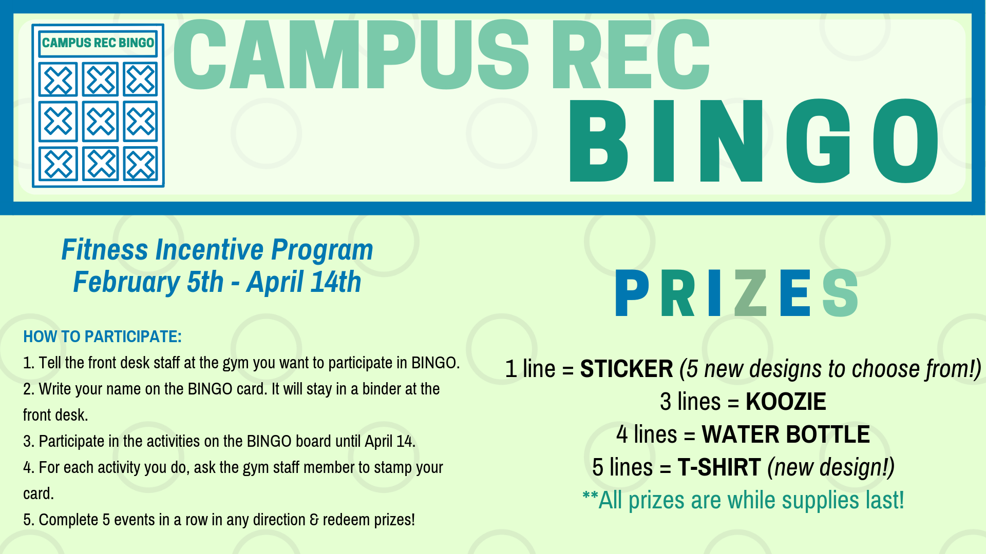 Information regarding Campus Rec BINGO is as follows Create Your Own Tag: is #GetFitAtUMW and Start date is January 14 2019 and End Date is April 13 2019 and Email is bhaas@umw.edu and Name is Brittanie Naff and File is Browse and Name of Ad/Event is Campus Rec BINGO and Group Name is Campus Recreation and Affiliation is Department and File Name is TV-BINGO-Spring-19_comp.jpg and Panel is Main and