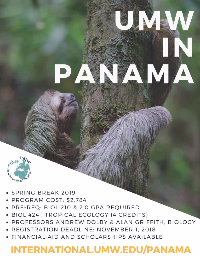 Information regarding UMW in Panama is as follows Create Your Own Tag: is #UMWabroad and Start date is June 26 2018 and End Date is November 01 2018 and File is Browse and Group Name is Center for International Education and Affiliation is Department and File Name is UMW-in-Panama-2019_comp.jpg and Name is Sarah Moran and Panel is Side and Email is smoran2@umw.edu and Name of Ad/Event is UMW in Panama and