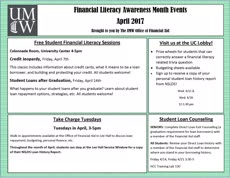 Information regarding Financial Literacy Month is as follows Create Your Own Tag: is #FinLit and Start date is March 13 2017 and End Date is April 30 2017 and File is Browse and Affiliation is Department and Group Name is Financial Aid Office and Name of Ad/Event is Financial Literacy Month and File Name is orca-adnew_Page_1_comp.jpg and Panel is Main and Name is Tessa Howard and Email is twagn4rn@umw.edu and