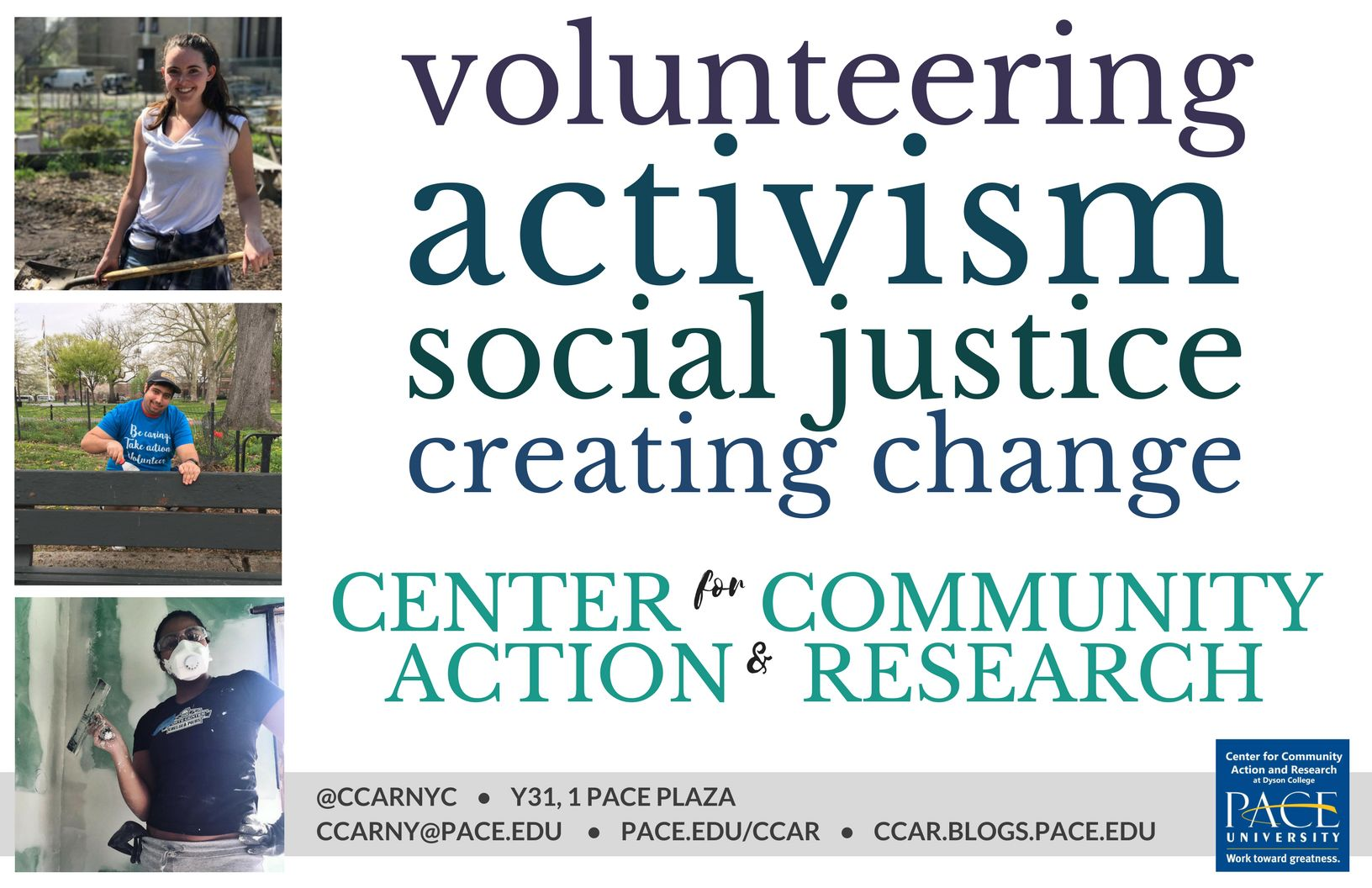 Information regarding Make a Difference with the CCAR 1 is as follows Start date is July 26 2017 and End Date is December 31 2017 and Email is akuenneke@pace.edu and Name is Ashley Kuenneke and File is Browse and Group Name is Center for Community Action and Reserach and Affiliation is Department and File Name is 117168_comp.jpg and Panel is Main and Name of Ad/Event is Make a Difference with the CCAR 1 and