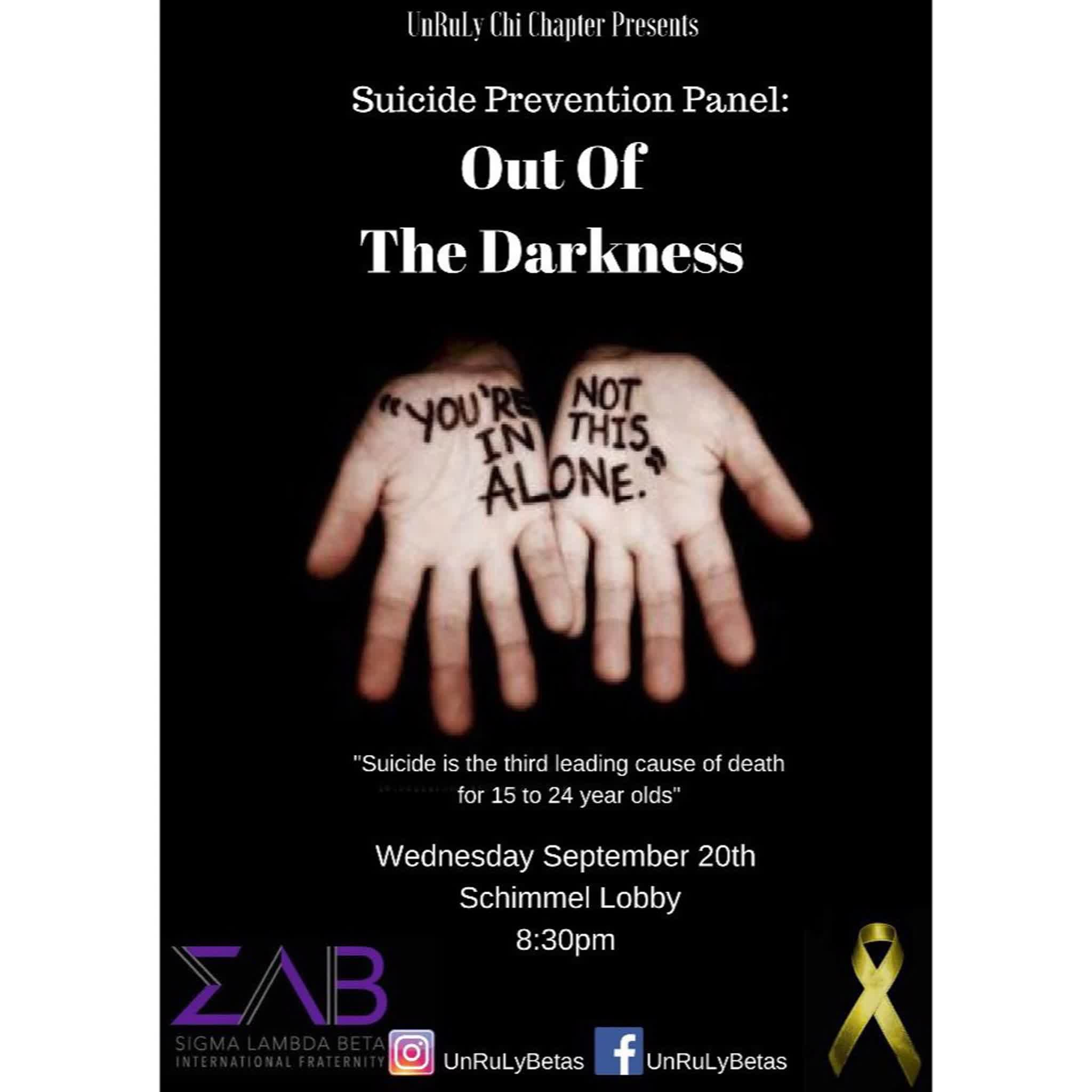 Information regarding Suicide Awareness Panel: Out of the Darkness is as follows Create Your Own Tags: is #SuicideAwareness #SLB and Start date is September 18 2017 and End Date is September 21 2017 and File is Browse and File Name is 960x960_comp.jpg and Email is jb10462n@pace.edu and Name is Joseph Balbuena and Affiliation is recognized student organization and Panel is Side and Group Name is Sigma Lambda Beta International Fraternity Inc. and Name of Ad/Event is Suicide Awareness Panel: Out of the Darkness and