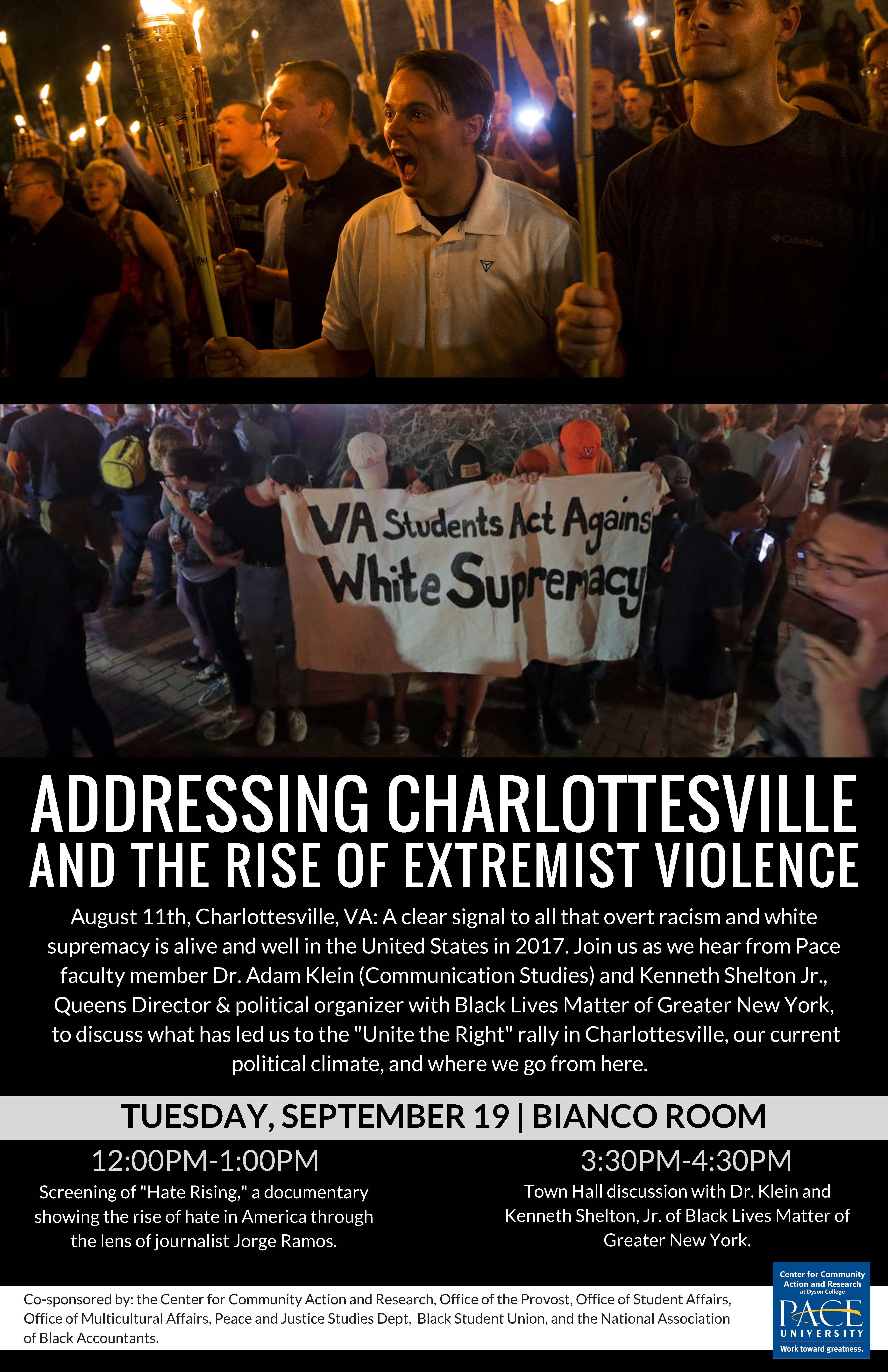 Information regarding Addressing Charlottesville is as follows Start date is September 13 2017 and End Date is September 20 2017 and Name of Ad/Event is Addressing Charlottesville and File is Browse and Group Name is Dean For Students Office and Affiliation is Department and File Name is Addressing-Charlottesville-11x1_comp.jpg and Name is Rachel Craig and Email is rc97553n@pace.edu and Panel is Side and