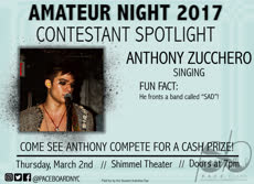 Information regarding Amateur Night Spotlight is as follows Start date is February 10 2017 and End Date is March 02 2017 and Name of Ad/Event is Amateur Night Spotlight and File is Browse and File Name is Anthony-Spotlight1_comp.jpg and Panel is Main and Affiliation is recognized student organization and Name is Sophia White and Email is swhite@apogee.us and