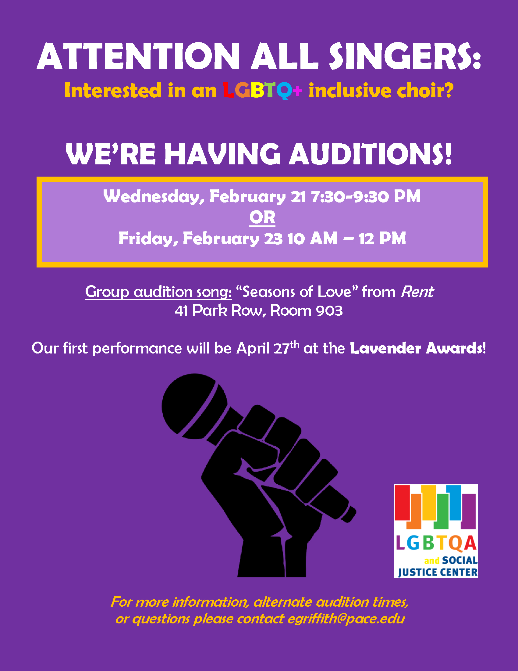 Information regarding LGBTQ+ Inclusive Choir Auditions is as follows Create Your Own Tags: is #PacePride and Start date is February 09 2018 and End Date is February 23 2018 and File is Browse and Affiliation is Department and Email is egriffith@pace.edu and Name is Emmett Griffith and File Name is Choir_comp.jpg and Name of Ad/Event is LGBTQ+ Inclusive Choir Auditions and Group Name is LGBTQA & Social Justice Center and Panel is Side and