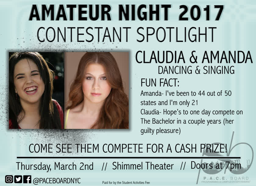 Information regarding Amateur Night Spotlight is as follows Start date is February 10 2017 and End Date is March 02 2017 and Name of Ad/Event is Amateur Night Spotlight and File is Browse and File Name is Claudia-and-Amanda-Spotlight_comp.jpg and Panel is Main and Affiliation is recognized student organization and Name is Sophia White and Email is swhite@apogee.us and