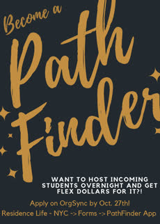 Information regarding PathFinder is as follows Create Your Own Tags: is #reslife and Start date is October 18 2017 and End Date is October 27 2017 and File is Browse and Affiliation is Department and File Name is PathFinder_comp.jpg and Group Name is OHRL and Name of Ad/Event is PathFinder and Name is Sam Brandano and Email is sbrandano@pace.edu and Panel is Side and