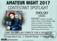 Information regarding Amateur Night Spotlight is as follows Start date is February 10 2017 and End Date is March 02 2017 and Name of Ad/Event is Amateur Night Spotlight and File is Browse and File Name is SMOLSKY-Spotlight_comp.jpg and Panel is Main and Affiliation is recognized student organization and Name is Sophia White and Email is swhite@apogee.us and