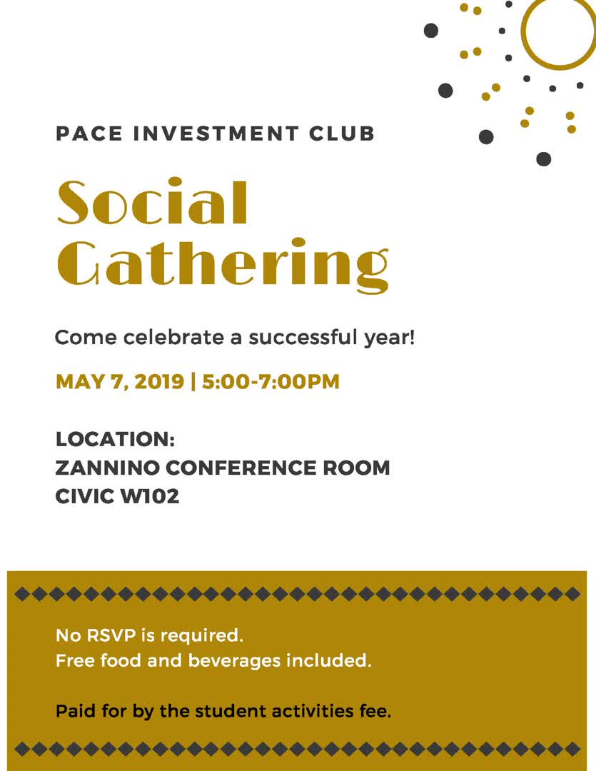 Information regarding Social Event is as follows Create Your Own Tags: is #Lubin and Start date is April 22 2019 and End Date is May 09 2019 and File is Browse and File Name is celebrationsocial_comp.jpg and Group Name is Pace Investment Club and Email is pg45273n@pace.edu and Name is Priscilla Garcia and Affiliation is recognized student organization and Panel is Side and Name of Ad/Event is Social Event and