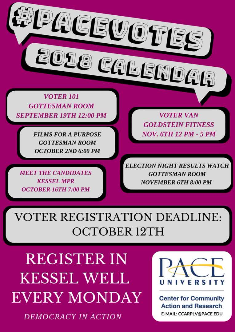 Information regarding Pace Votes Calendar is as follows Name is #PaceVotes2018  Calendar and Start date is August 01 2018 and End Date is December 14 2018 and File is Browse and Group Name is Center for Community Action & Research and Affiliation is Department and File Name is pacevotes2_comp.jpg and Name of Ad/Event is Pace Votes Calendar and Panel is Side and Email is tkalahar@pace.edu and