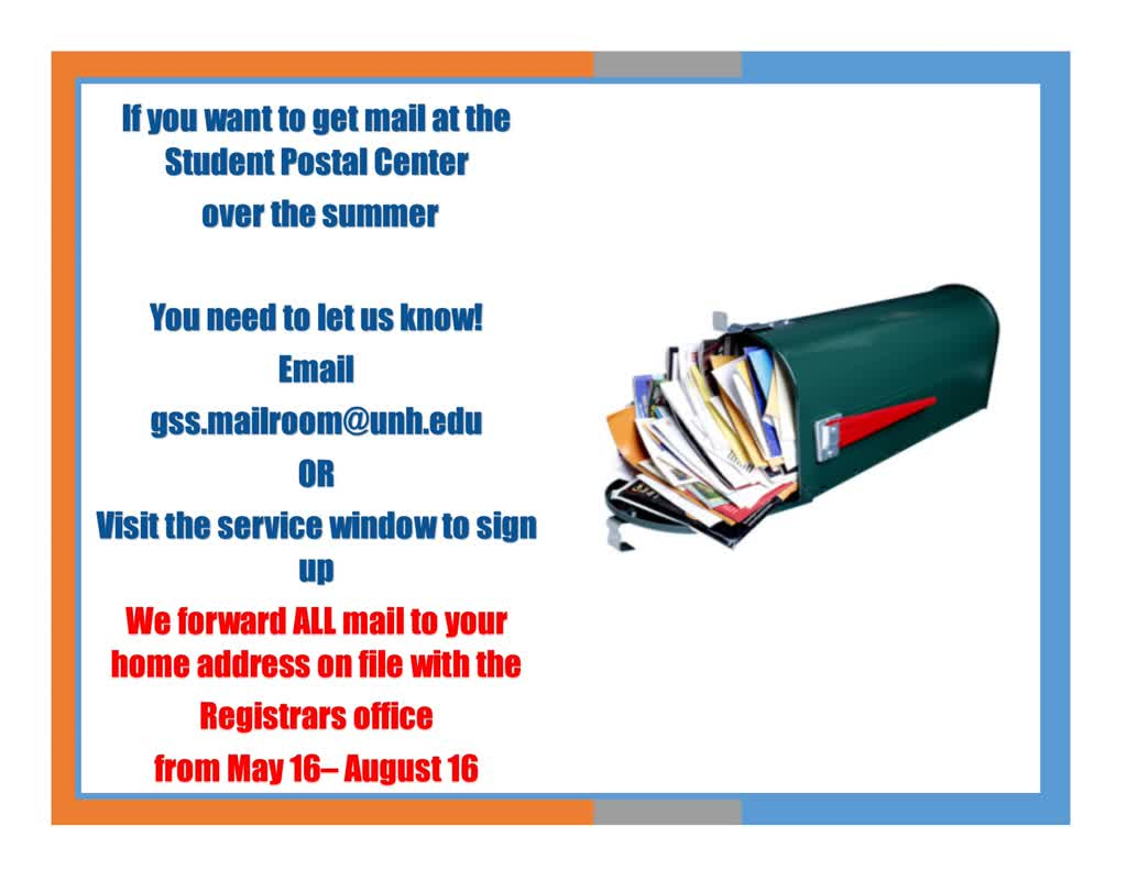 Information regarding Summer Mail is as follows Start date is April 03 2019 and End Date is May 31 2019 and File is Browse and Affiliation is Department and File Name is 1554309166_comp.jpg and Panel is Main and Group Name is MUB Postal center and Name of Ad/Event is Summer Mail and Name is Theresa Faist and Email is theresa.faist@unh.edu and