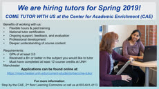 Information regarding CAE is hiring tutors is as follows Start date is November 15 2018 and End Date is December 19 2018 and File is Browse and Name of Ad/Event is CAE is hiring tutors and Affiliation is Department and Name is Donna Laferriere and Email is donna.laferriere@unh.edu and File Name is Kiosk-Slide-Spring-2019_comp.jpg and Panel is Main and