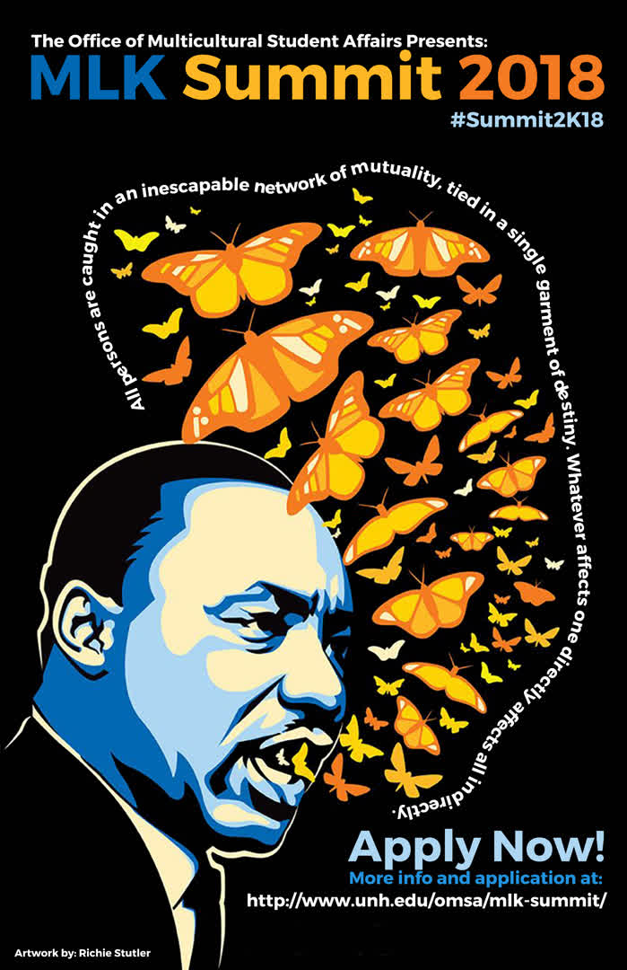 Information regarding MLK Summit 2018 is as follows Start date is December 06 2017 and End Date is January 31 2018 and File is Browse and Affiliation is Department and File Name is MLK-summit-2k18_comp.jpg and Email is Jci224@wildcats.unh.edu and Name is Jhenneffer Marcal and Name of Ad/Event is MLK Summit 2018 and Panel is Side and Group Name is The Office of Multicultural Student Affairs and