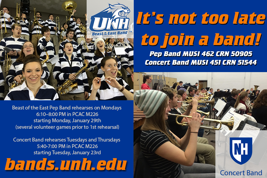 Information regarding Join a Band Second Semester! is as follows Start date is November 17 2017 and End Date is January 30 2018 and File is Browse and Name is Casey Goodwin and Email is Casey.Goodwin@unh.edu and Affiliation is Department and File Name is UNHTV-Bands-Spring-2018_comp.jpg and Name of Ad/Event is Join a Band Second Semester! and Panel is Main and Group Name is University of New Hampshire Department of Music and