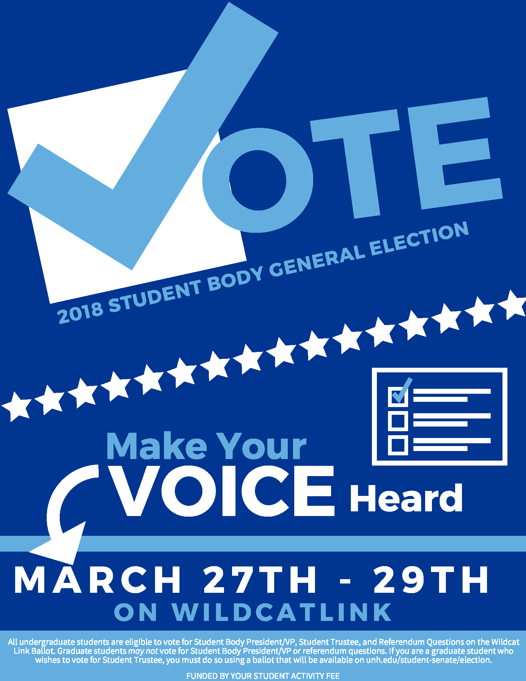 Information regarding VOTE is as follows Create Your Own Tag: is #Election and Start date is March 23 2018 and End Date is March 30 2018 and File is Browse and Email is esmith2010@maine.rr.com and Name is Evan Smith and File Name is Vote-Student-Elections_comp.jpg and Affiliation is Recognized Student Organization and Panel is Side and Group Name is Student Senate and Name of Ad/Event is VOTE and